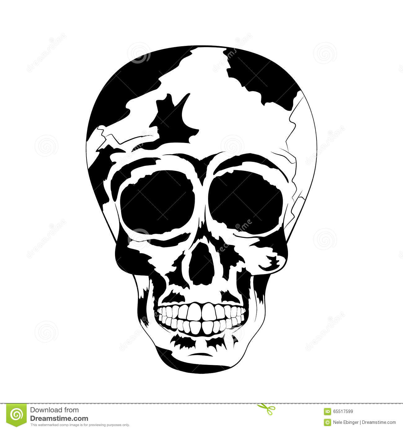 214211e3a9 Vector of cool human tattoo skull with shadows in black and white colors to  the Day of The Dead. Contour. Vector Illustration