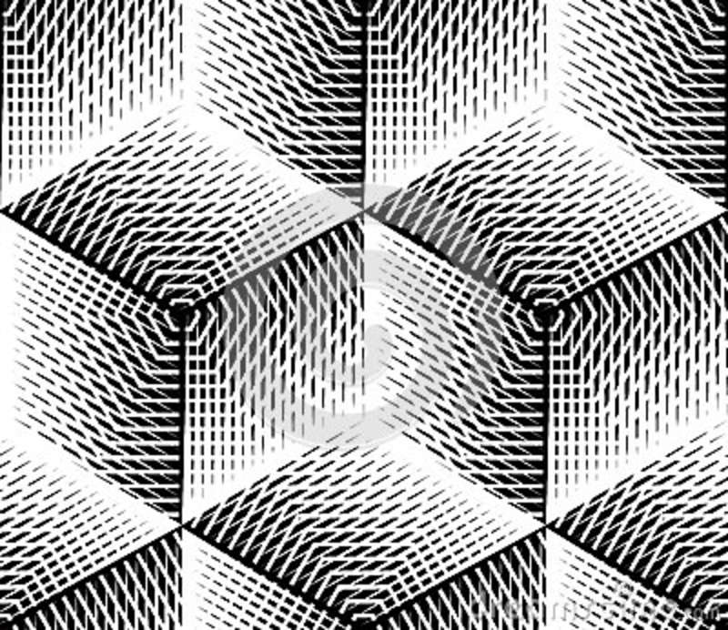 Black And White Illusive Abstract Geometric Seamless 3d ...