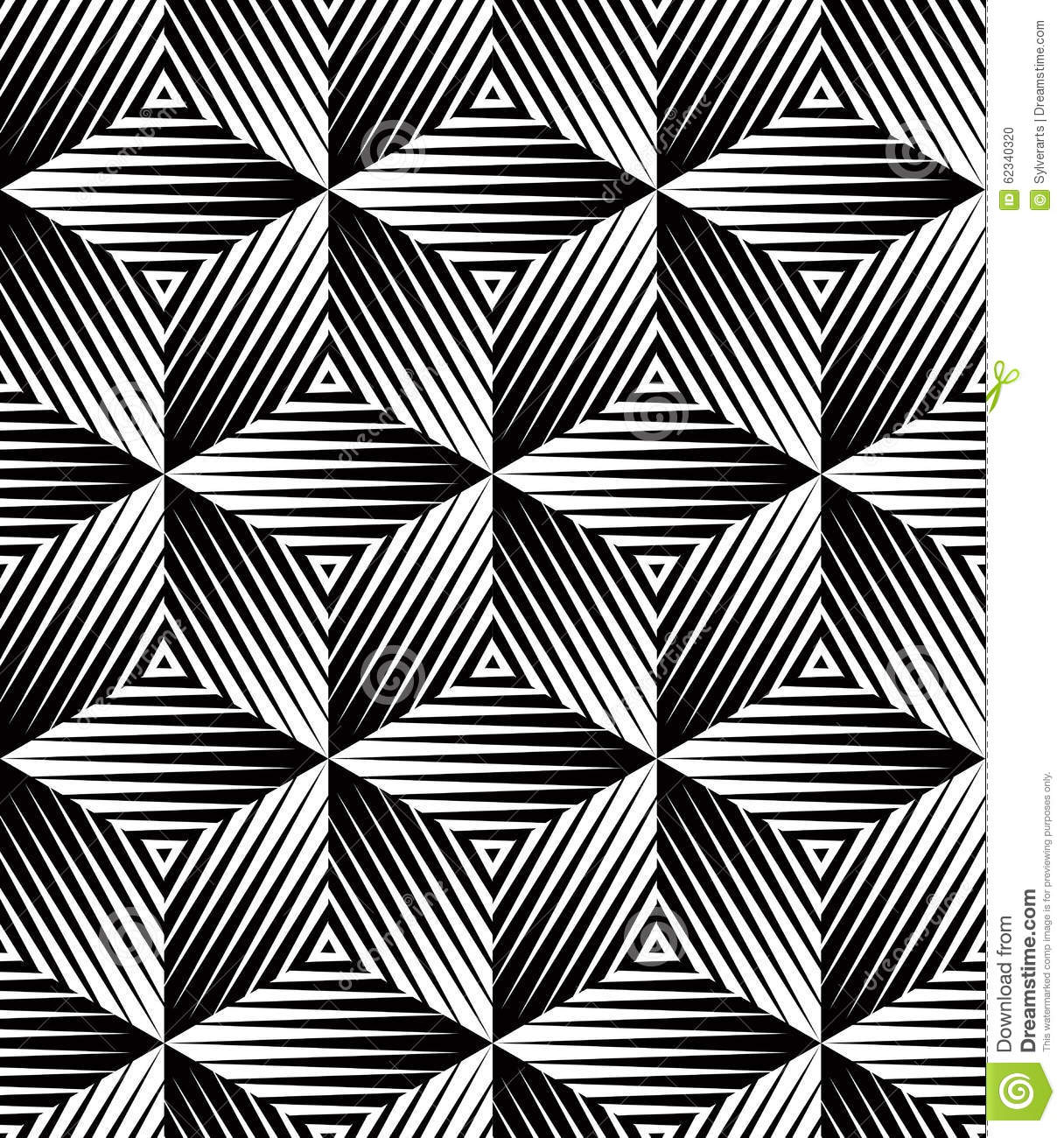Black And White Illusive Abstract Geometric Seamless 3d Pattern