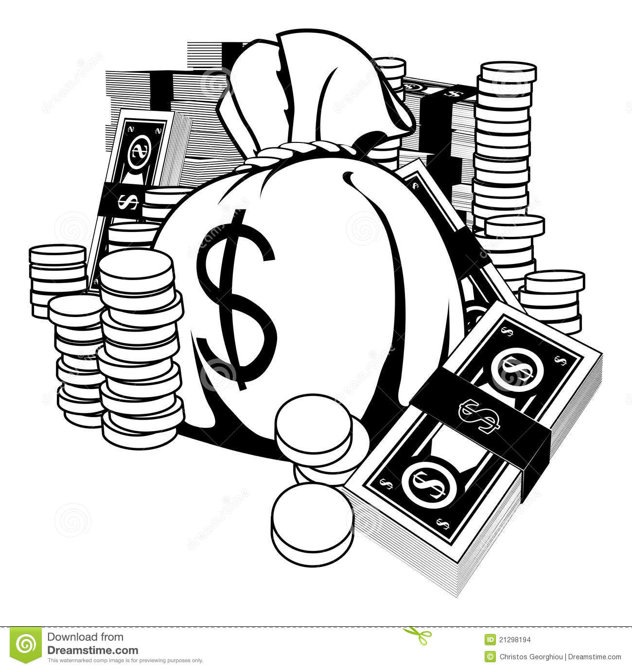 Black And White Illustration Of Cash Stock Vector ...