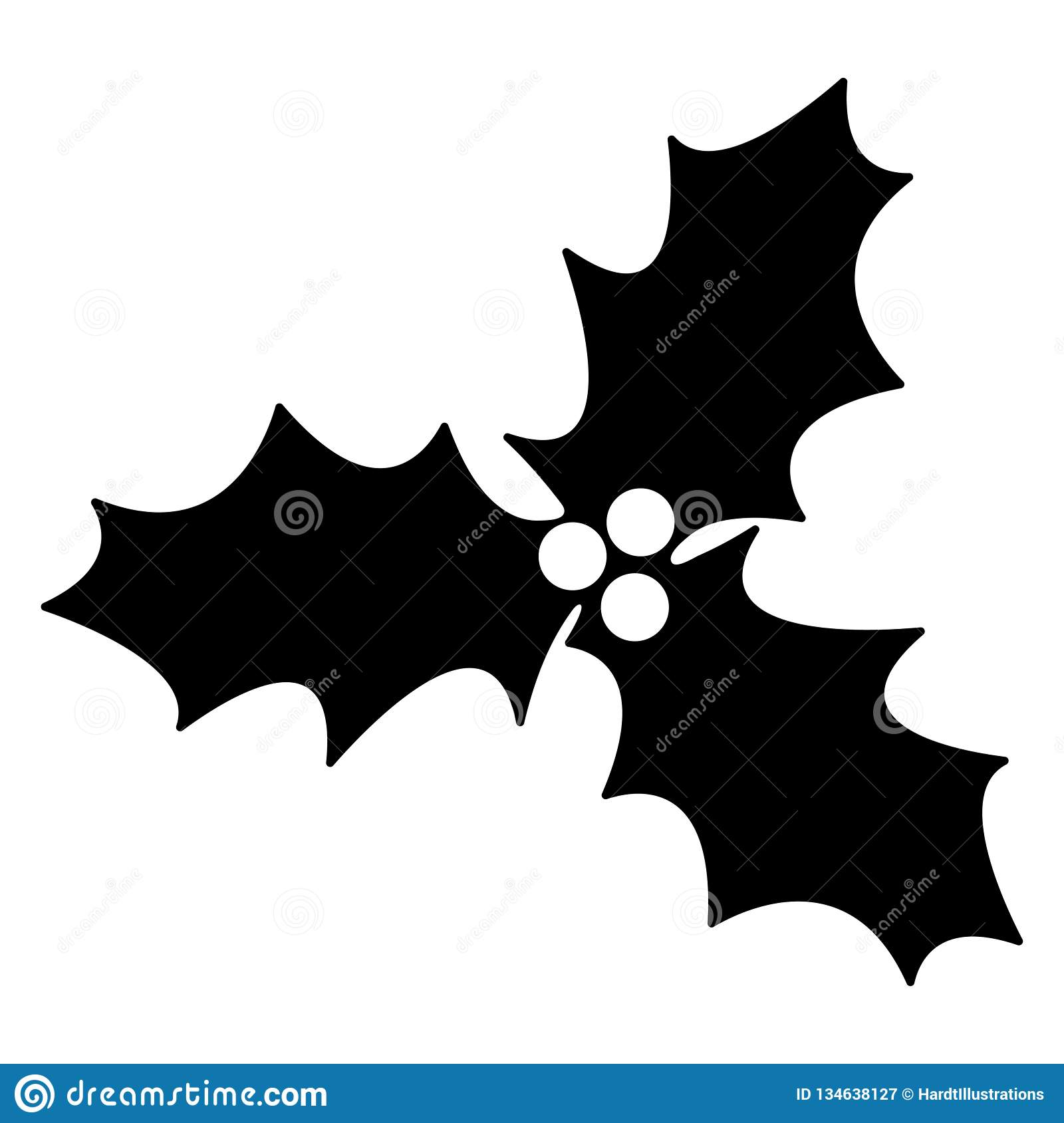 Christmas Holly Silhouette.Holly Silhouette Stock Vector Illustration Of Celebration