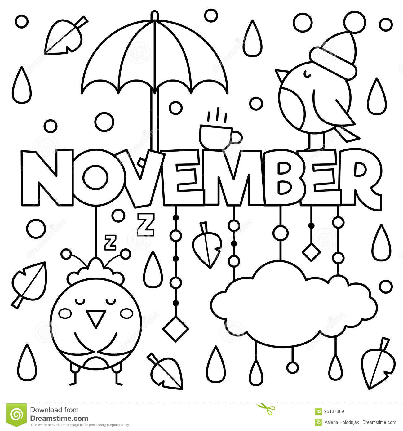 Black And White Illustration. Coloring Page. Stock Vector ...