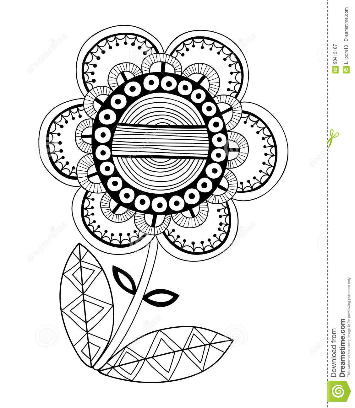 Black And White Illustration Of A Fancy Decorative Flower For Coloring Book Pages Stock Vector Illustration Of Cute Flora 90413187