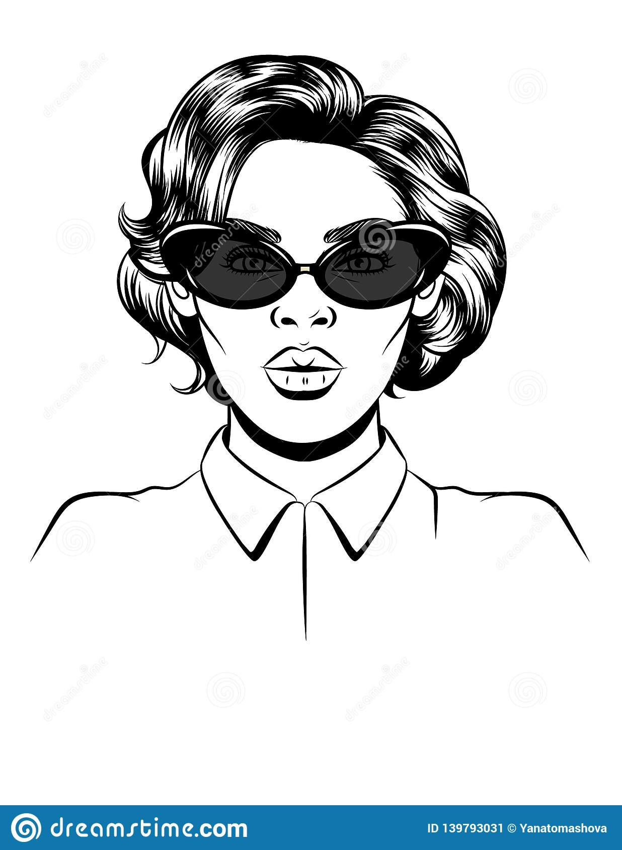 Black white illustration of a female portrait on white background. Glamorous woman in sunglasses. Female silhouette. Female