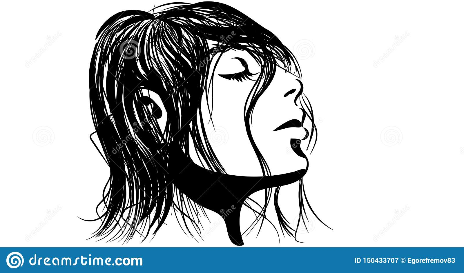 Linear illustration of a girl with wet hair
