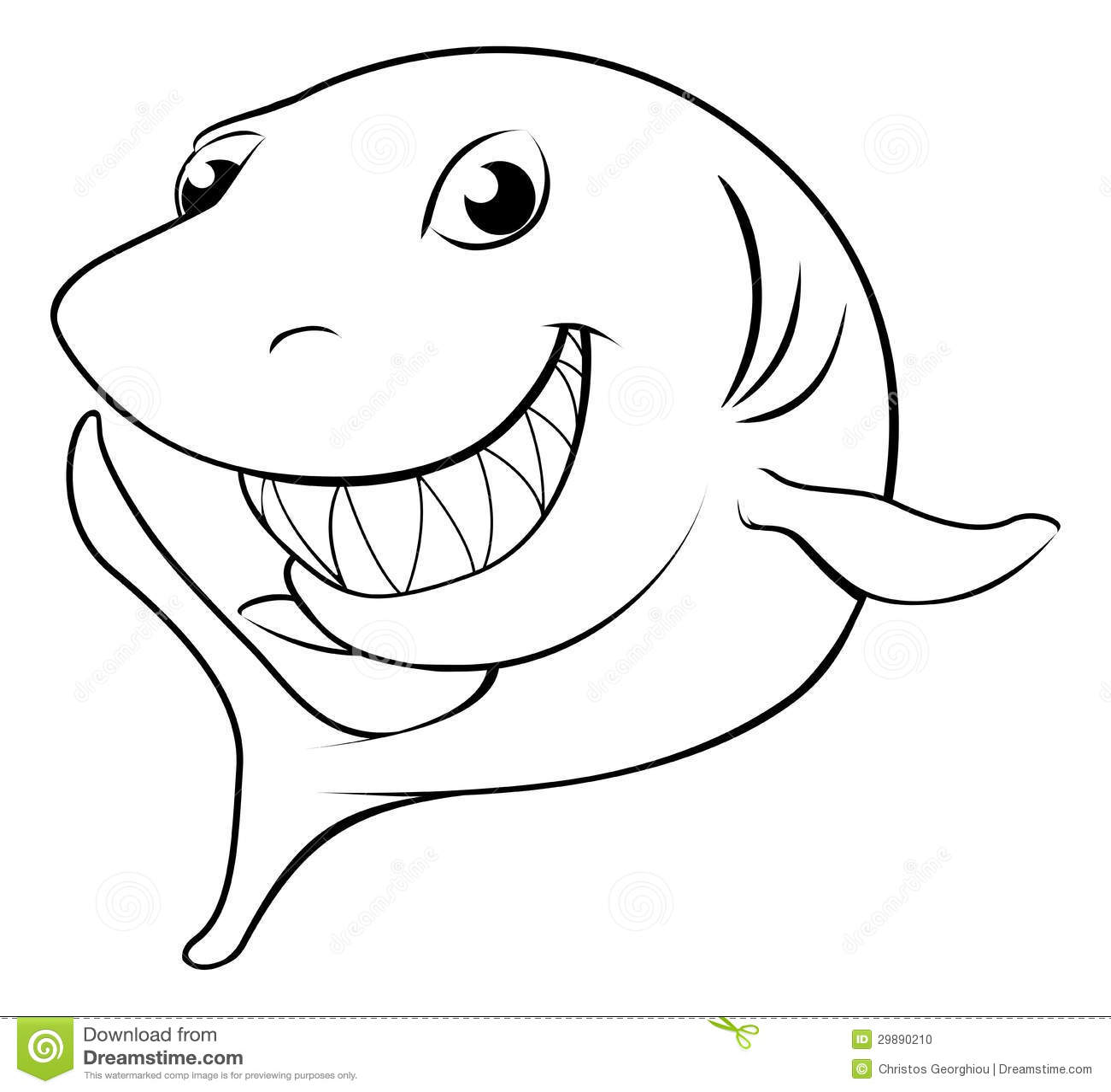 Black and white illustration of a happy cartoon shark