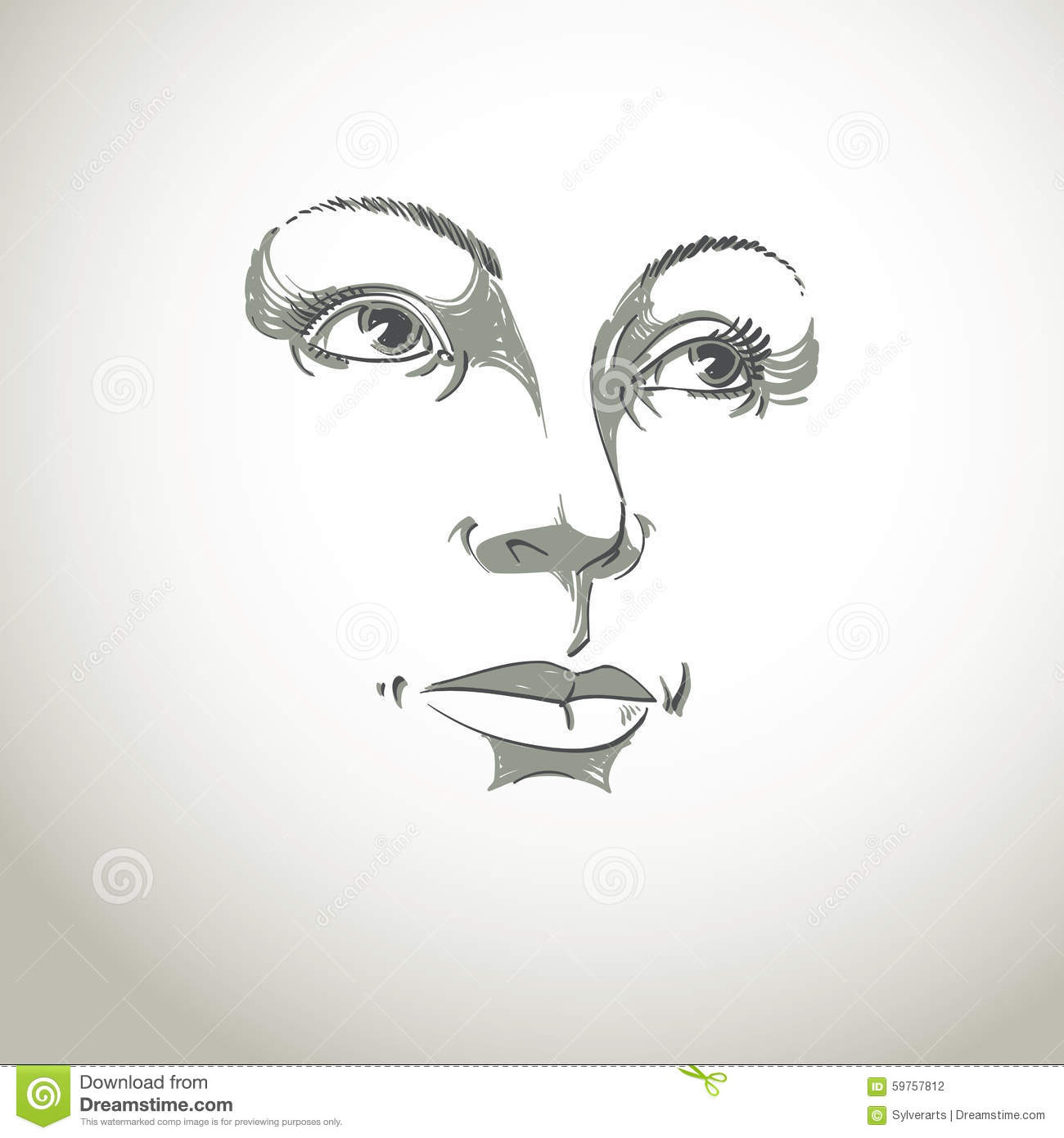 black and white illustration of lady face delicate visage stock