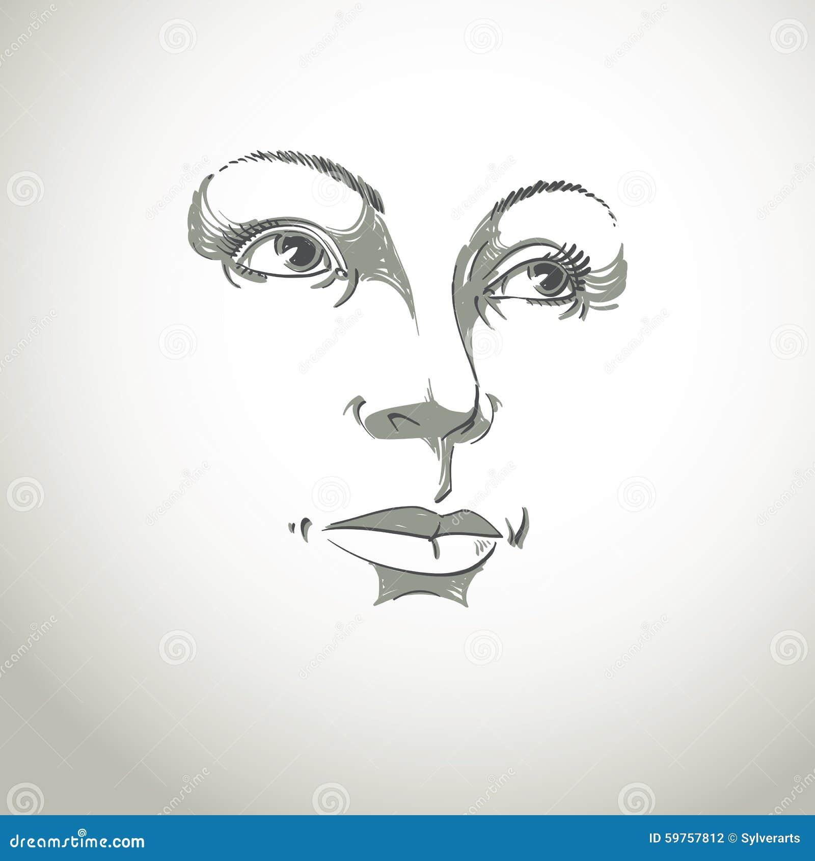 Illustration Visage black and white illustration of lady face, delicate visage stock