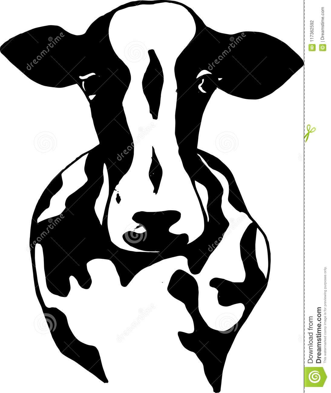 Black and white illustration of a sacred indian animal. Indian cow