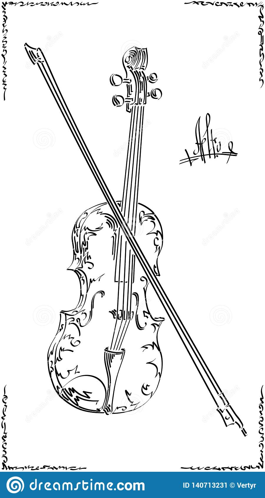 Vector Black And White Illustration Drawing Of Alto Viola
