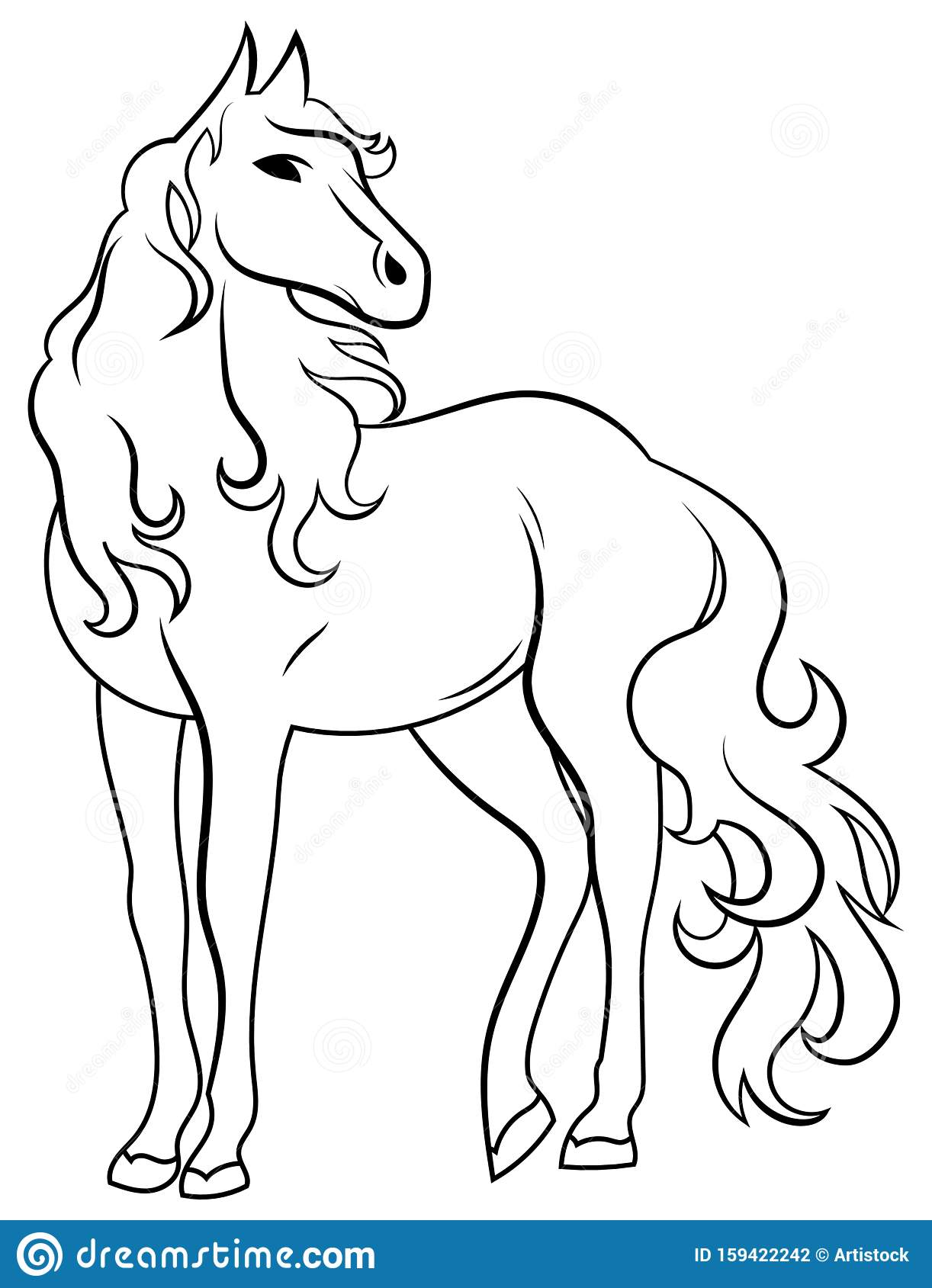 Black And White Illustration Of A Wild Horse Vector Drawing Of A Stylized Mustang Tattoo Stock Vector Illustration Of Animal Freedom 159422242