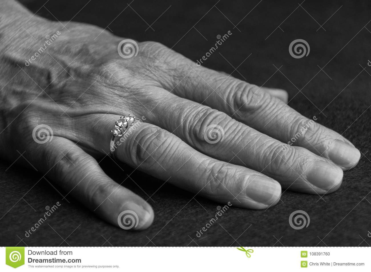 An old hand with a ring on one finger