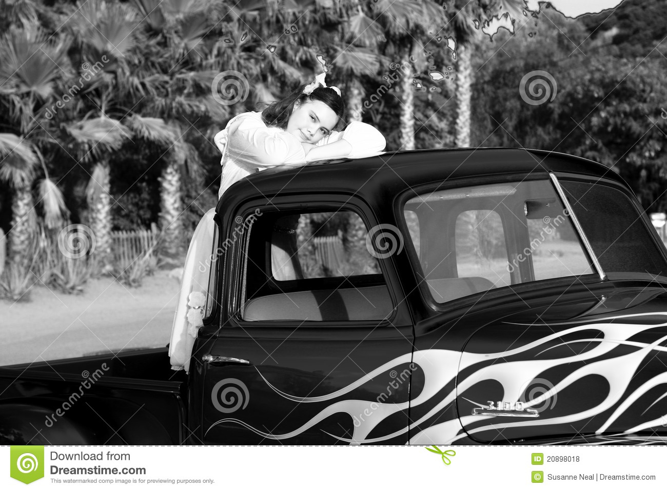 Black And White Image Of Teen Girl In Pickup Truck Stock -6867