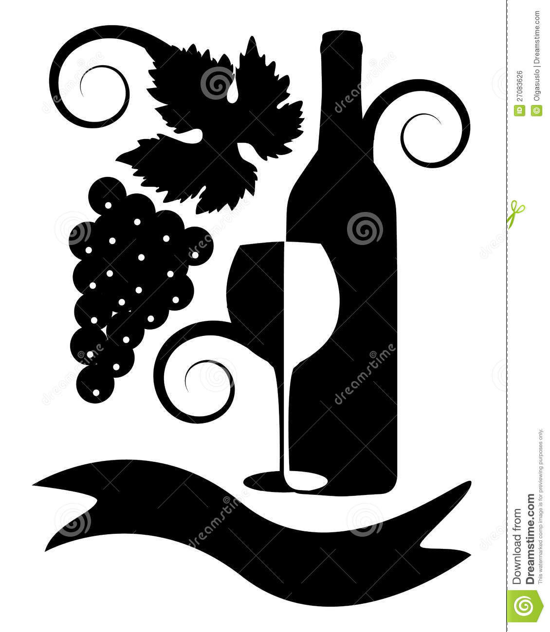 Black-and-white Image Of Wine Stock Vector - Illustration ... (1130 x 1300 Pixel)