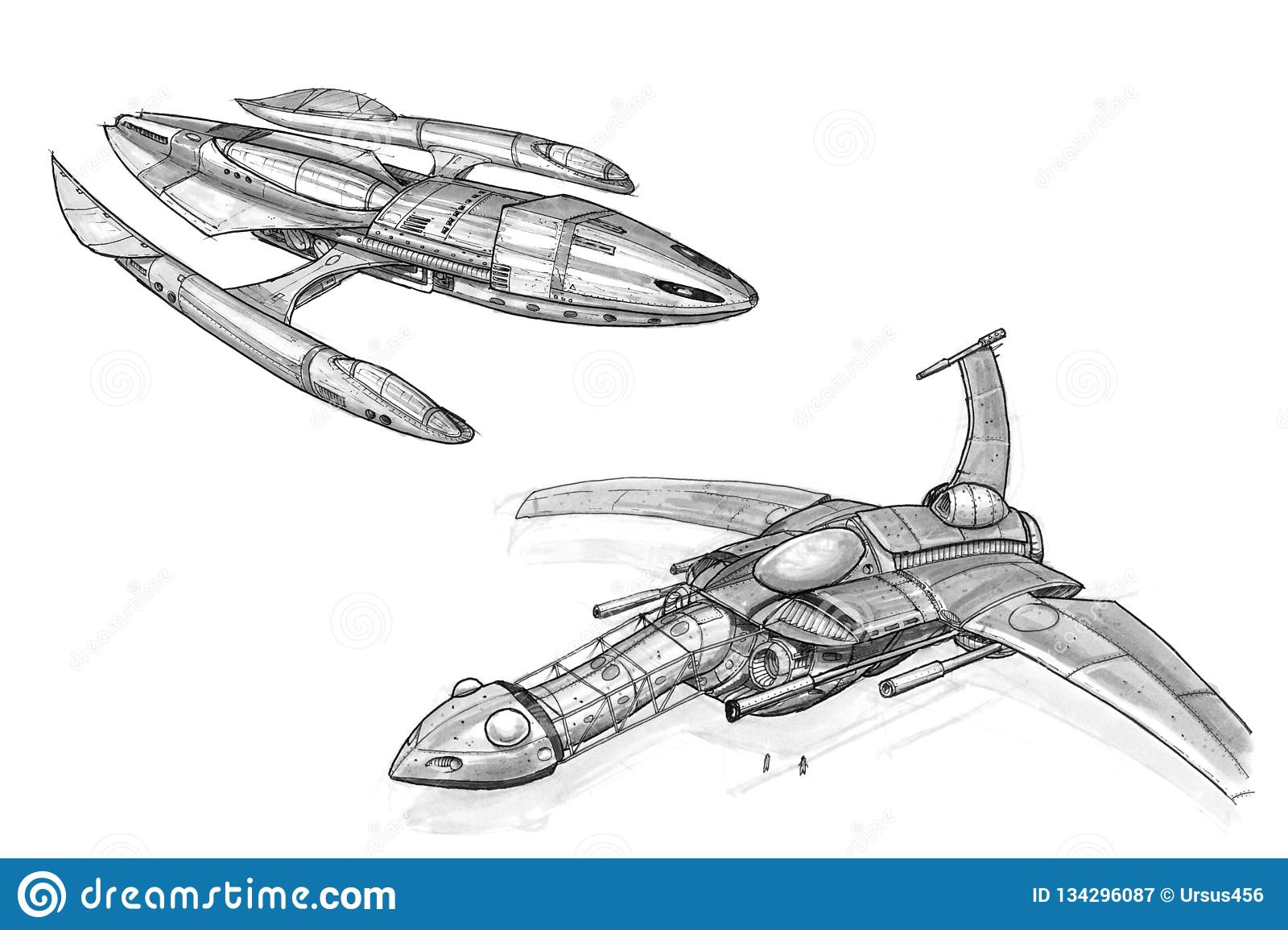 Ink Concept Art Drawing Of Two Futuristic Spaceships Or Spacecrafts