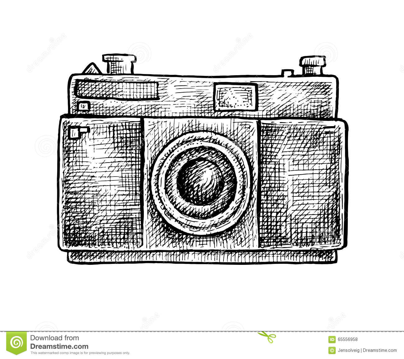 Black And White Ink Hand Drawn Camera Stock Vector Illustration Of