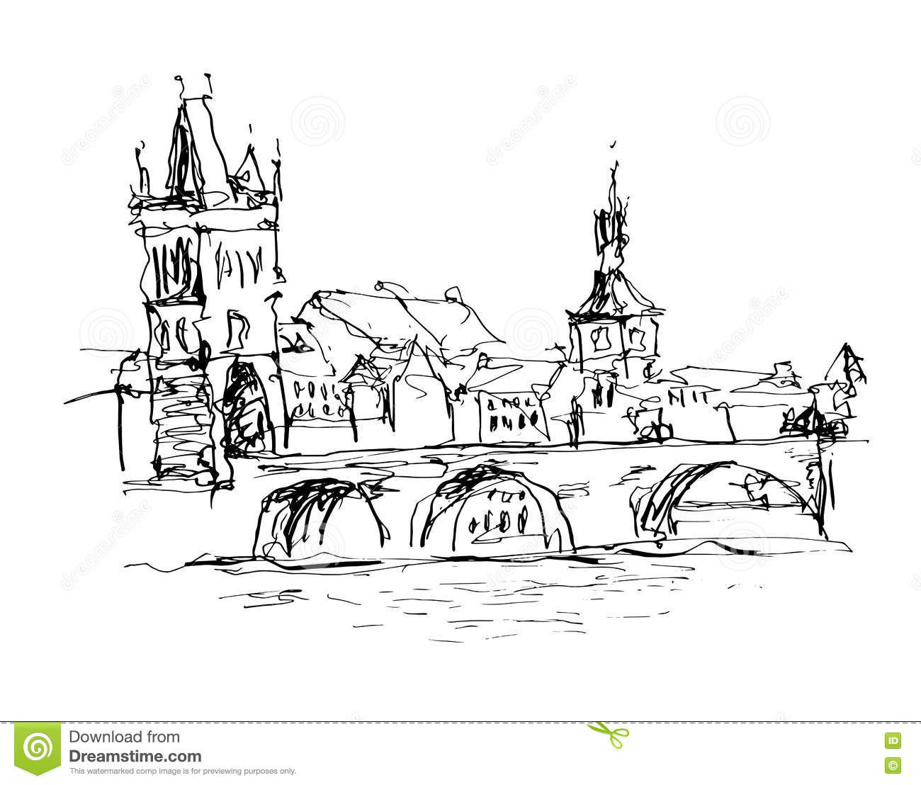 old town square prague sketch cartoon vector 22858143. Black Bedroom Furniture Sets. Home Design Ideas