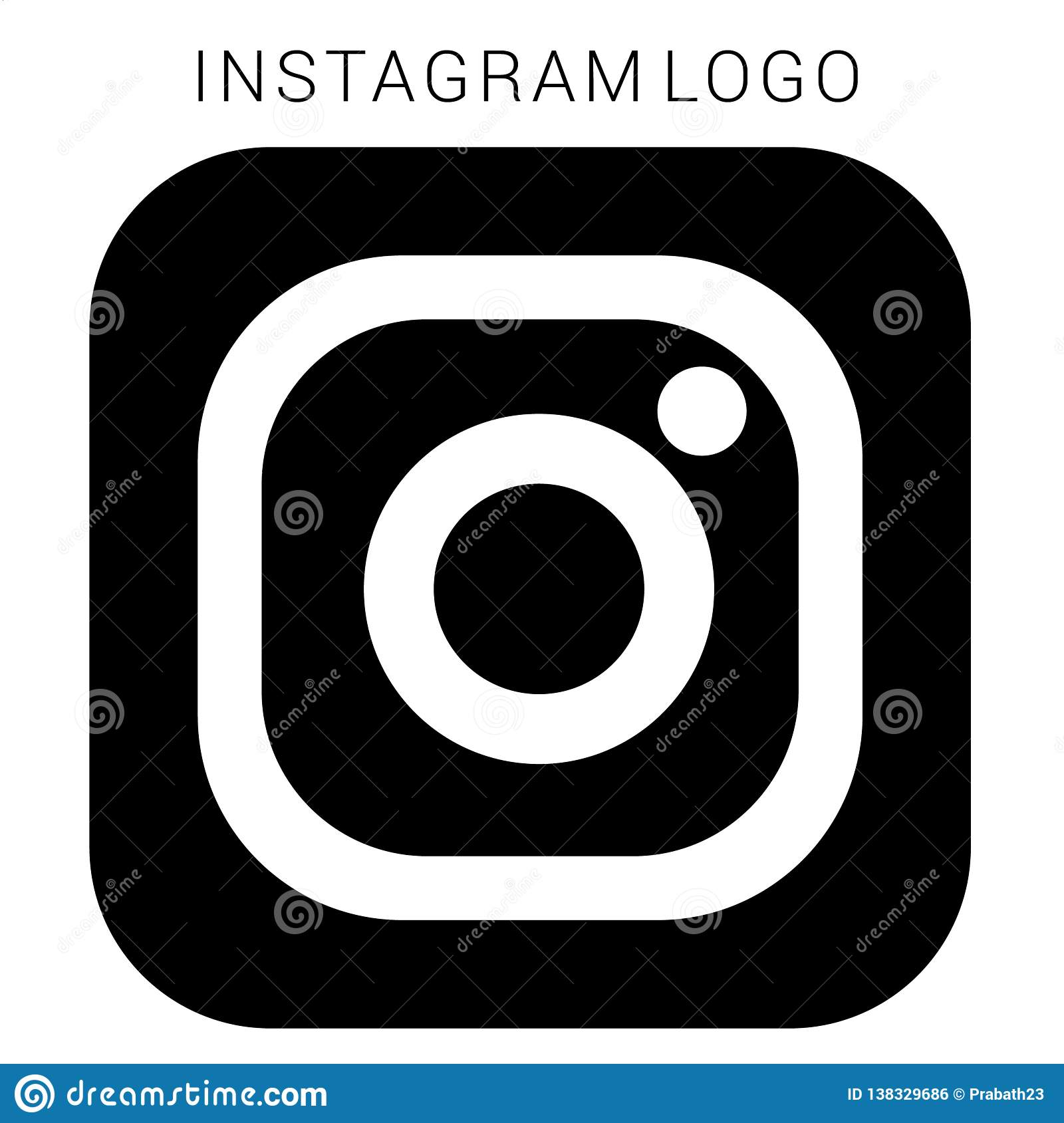 Instagram Logo With Vector Ai File  Squared Black & White