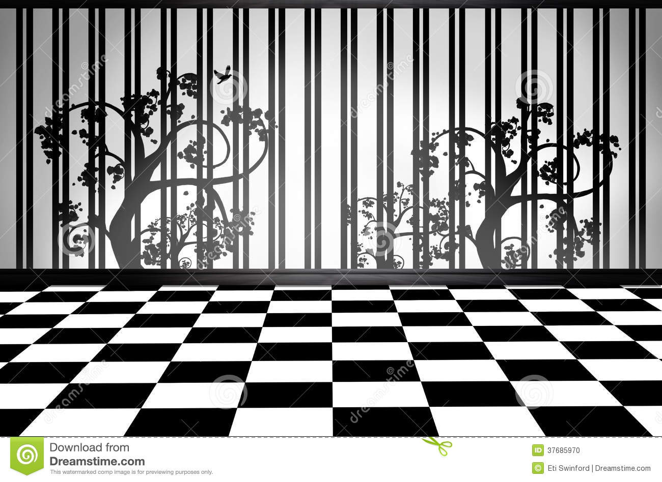 Black and white interior room stock photo image 37685970 for Black and white check floor