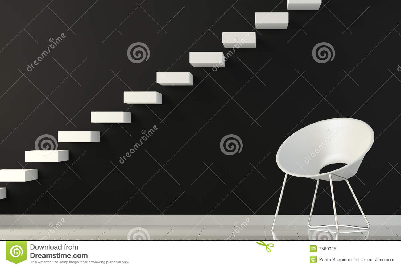 Black and white interior wall with chair and stair