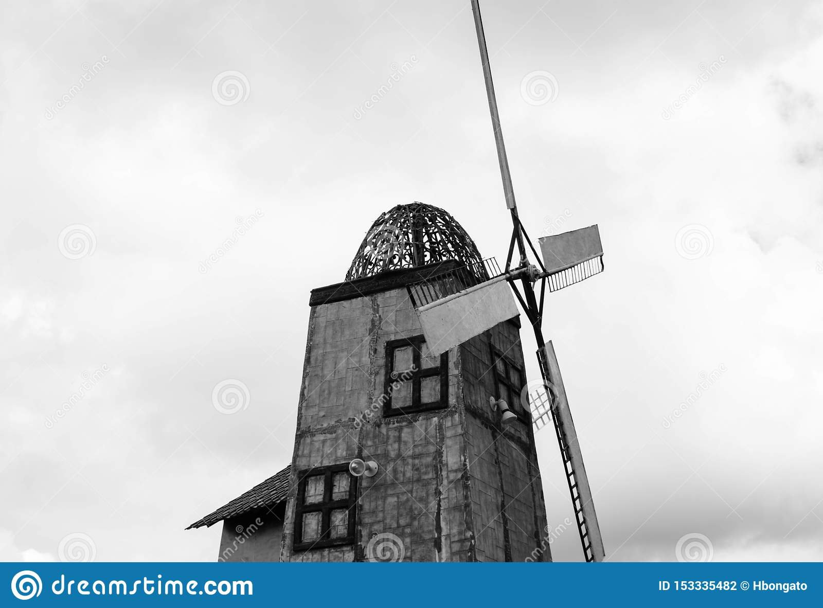 Black and White Isolated Windmill Tower