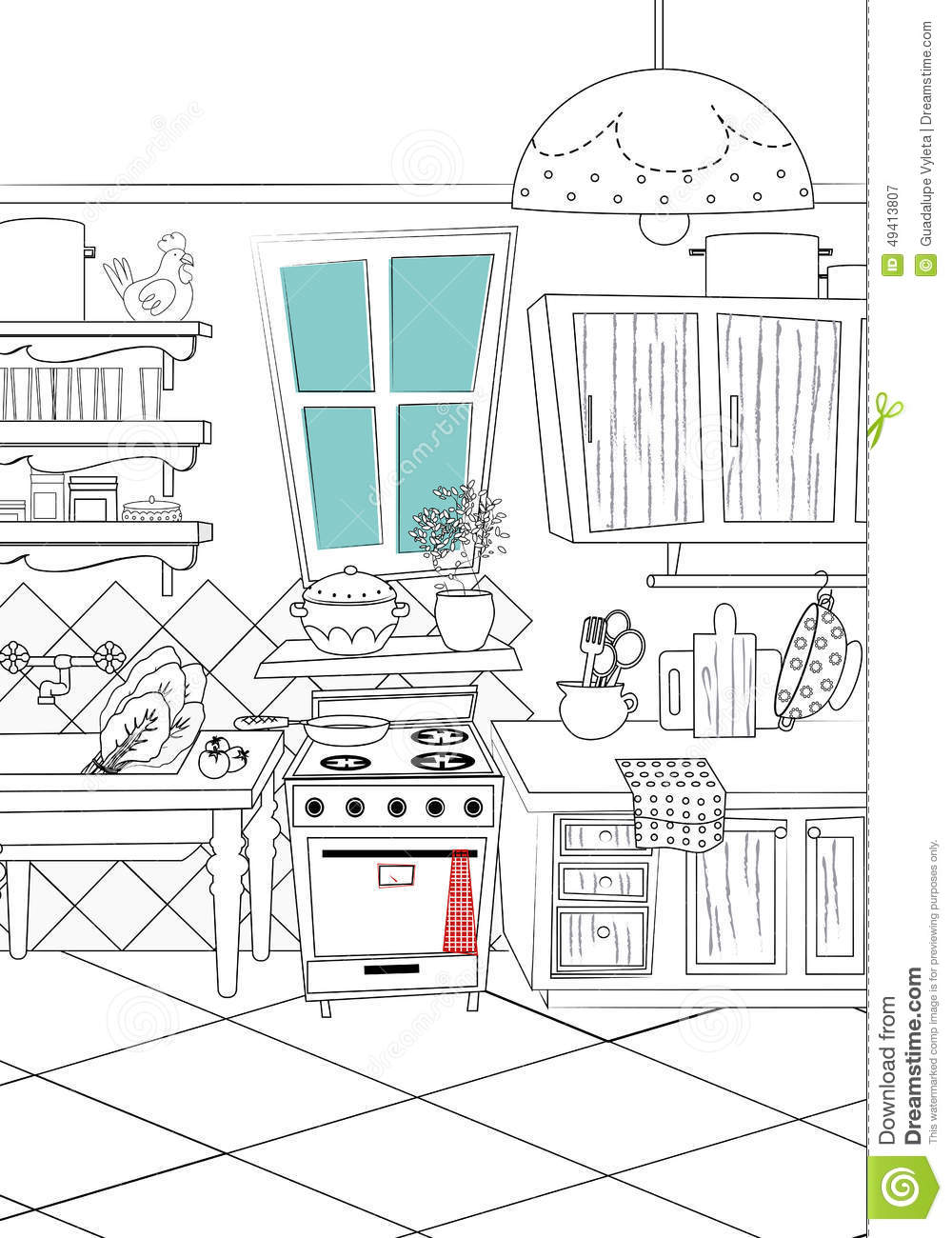 Black And White Kitchen Cartoon Style Background - Illustration Stock ...