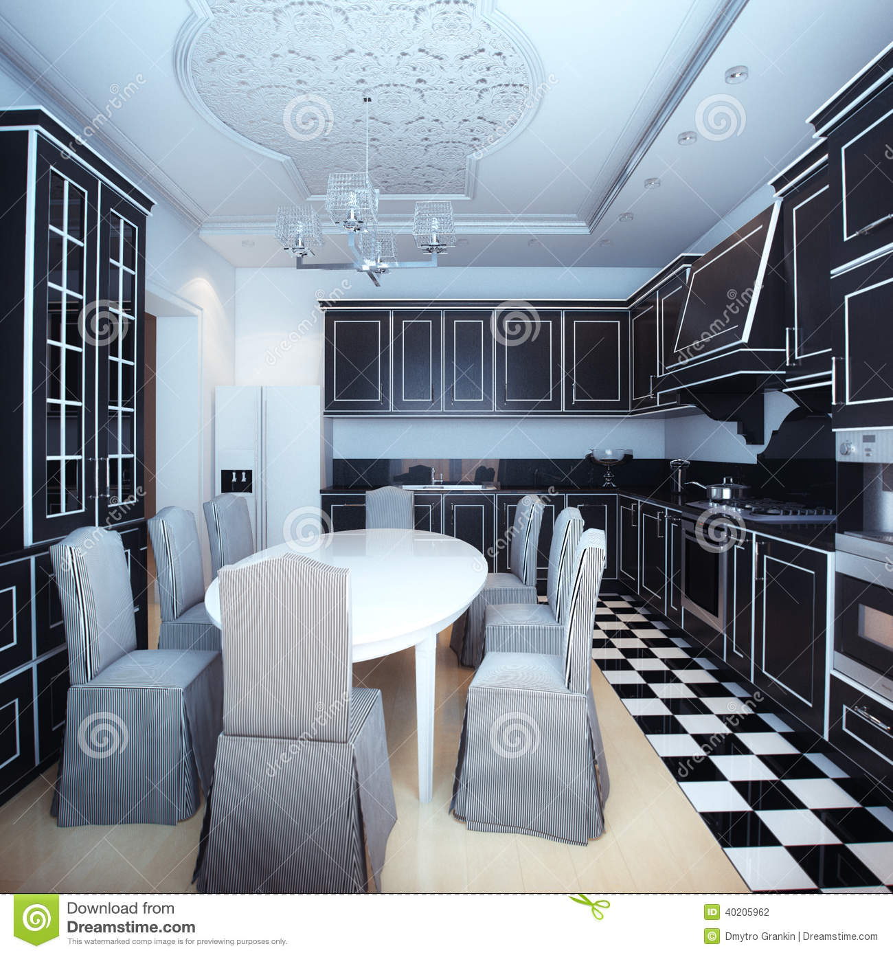 Black and white kitchen interior with dining area stock for Dining area interior