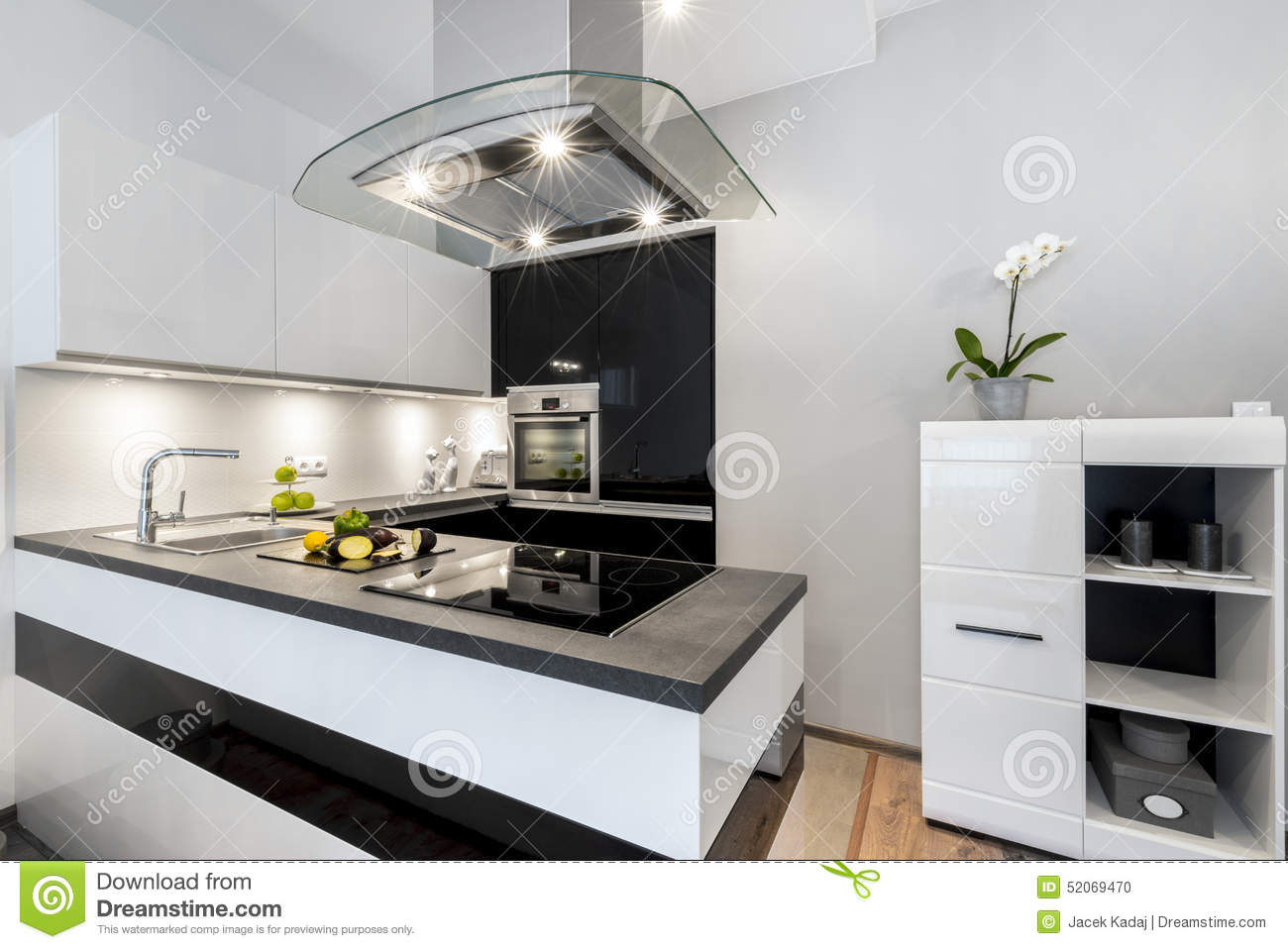 Black and white kitchen modern interior design stock photo image 52069470 - Modern interior kitchen design ...