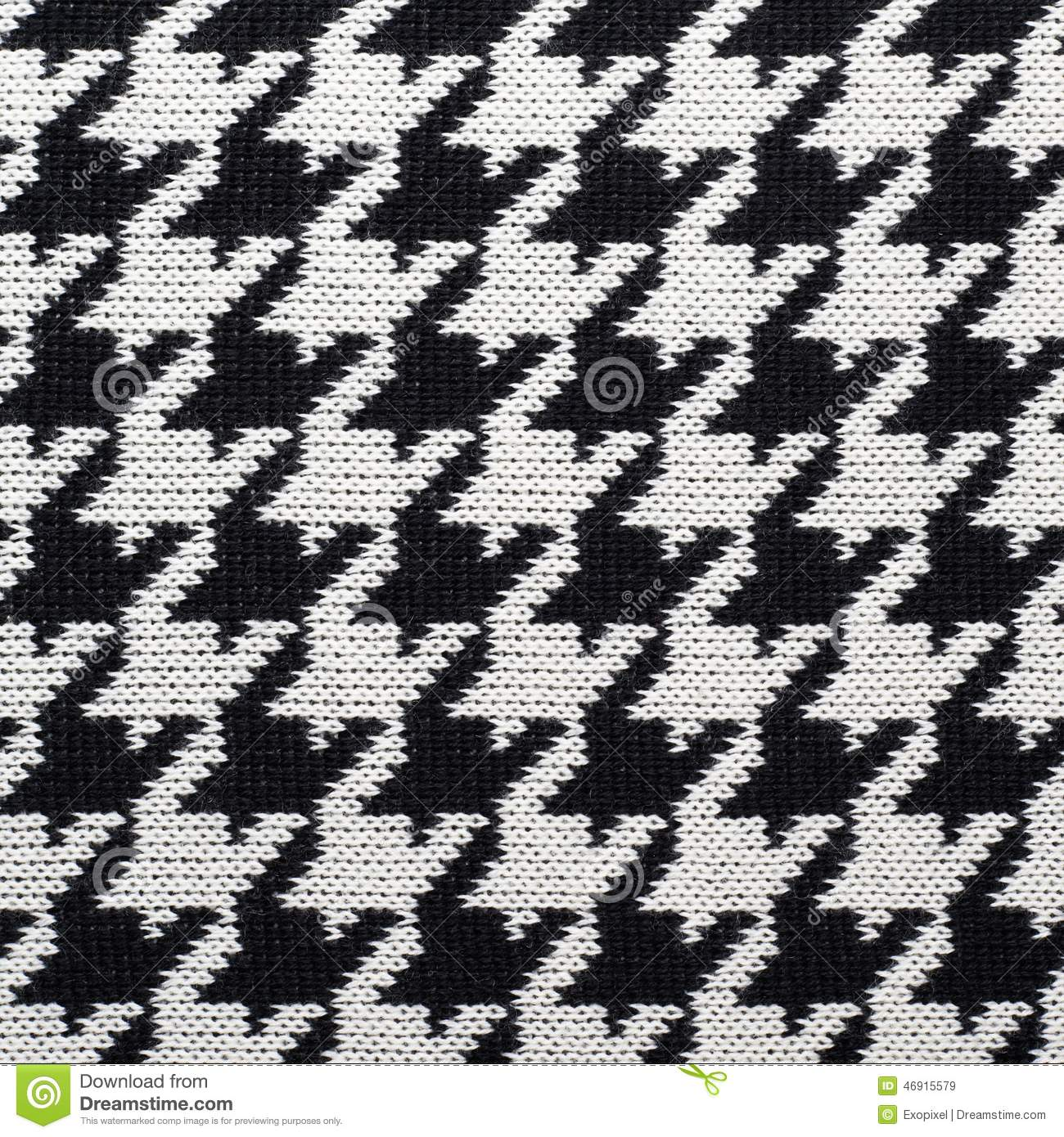 Black And White Knitted Houndstooth Pattern Stock Image - Image of ...