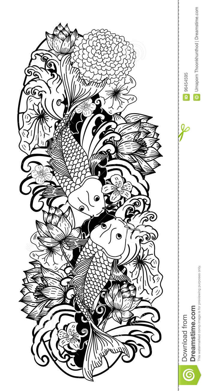 Black And White Koi Carp Fish Vector Stock Vector Illustration Of