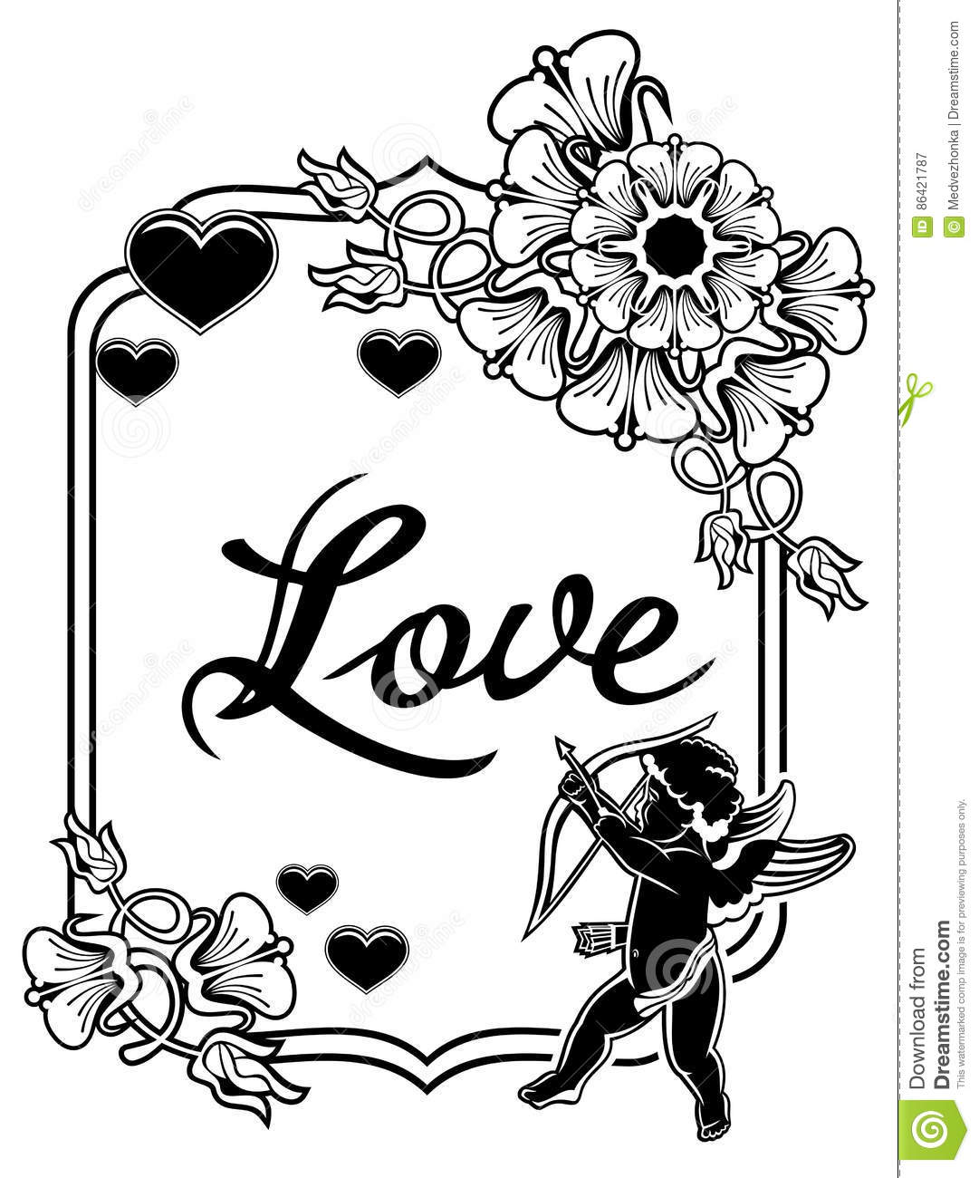 black and white label with silhouettes of cupid. raster clip art