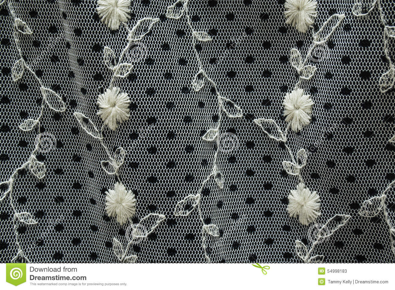 Black And White Lace Fabric With Embroidered Flowers And