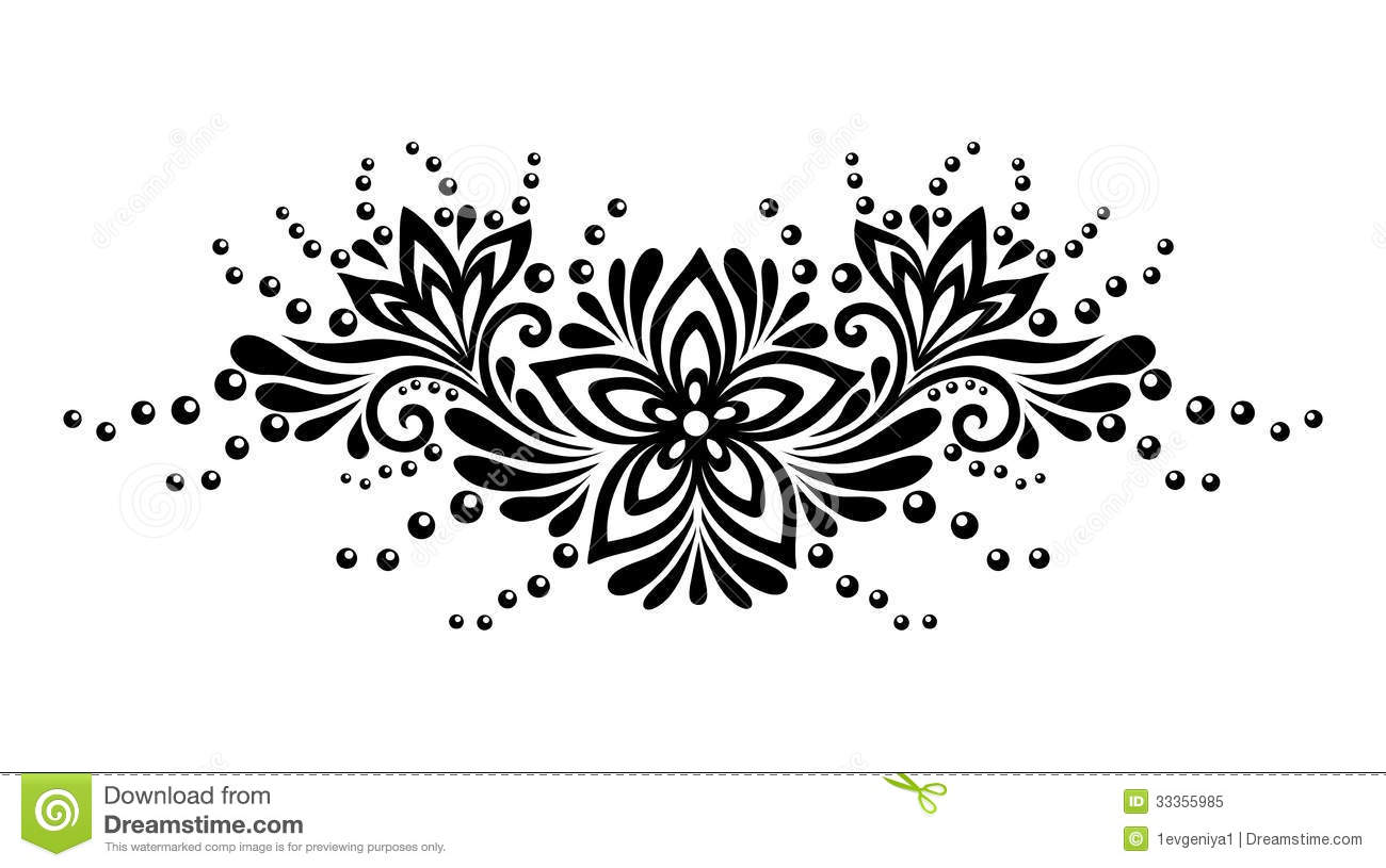 Black and white lace flowers and leaves isolated on white floral design element in retro style - Any design using black and white ...