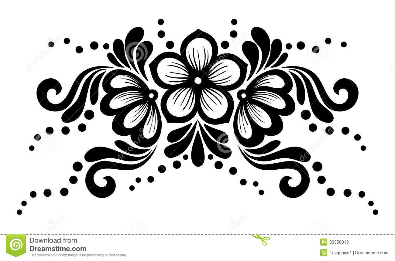 Delightful Royalty Free Stock Photo. Download Black And White Lace Flowers And Leaves  Isolated On White. Floral Design Element In