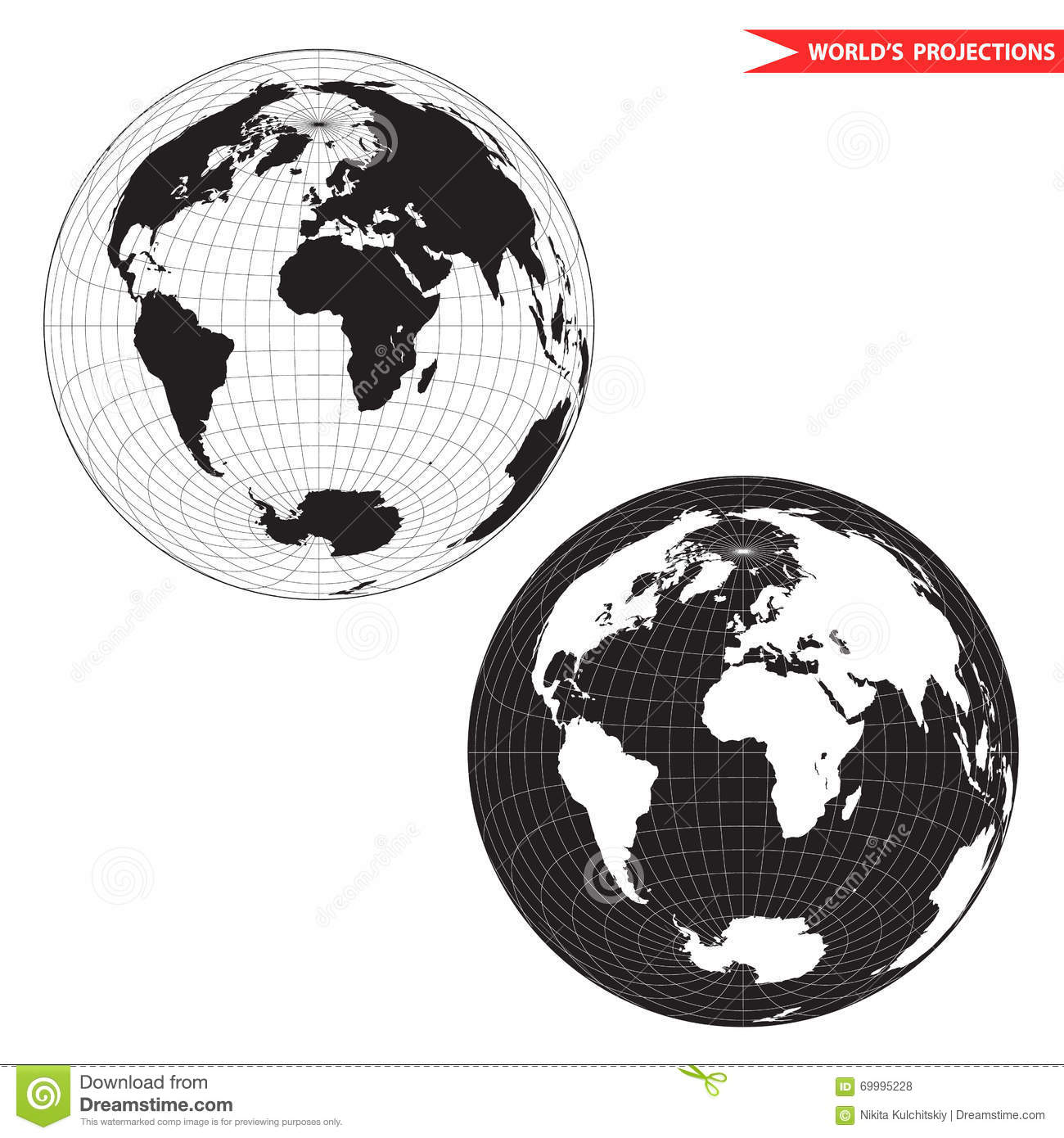Black and white lambert azimuthal projection stock vector lambert azimuthal equal area world map projection black and white world map vector illustration gumiabroncs Choice Image