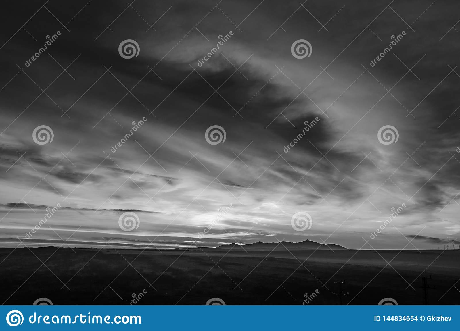 Black and white landscape with clouds