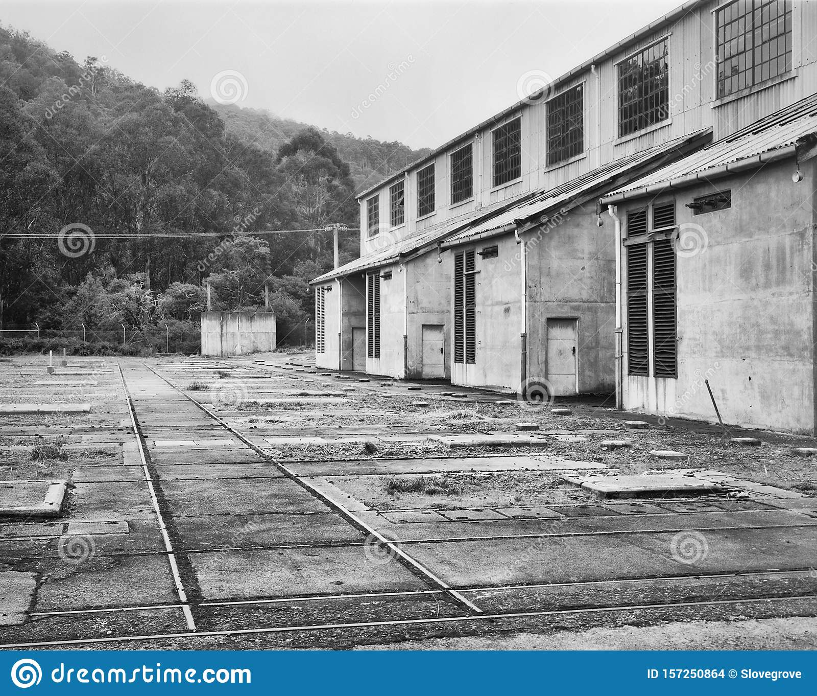 Film Image Of An Abandoned Industrial Site Stock Photo