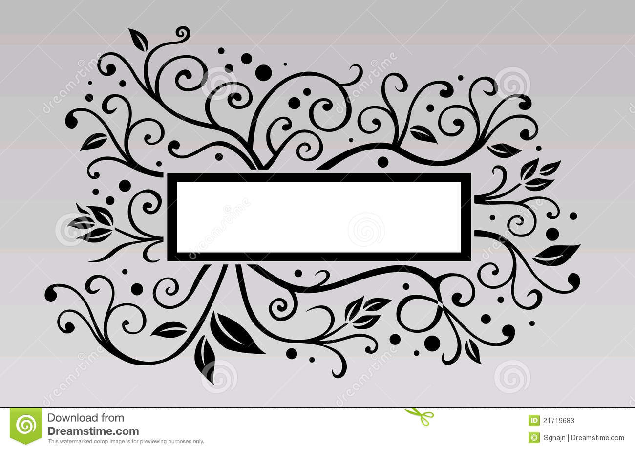 Black And White Leaf Illustration With Banner Stock Photos ...