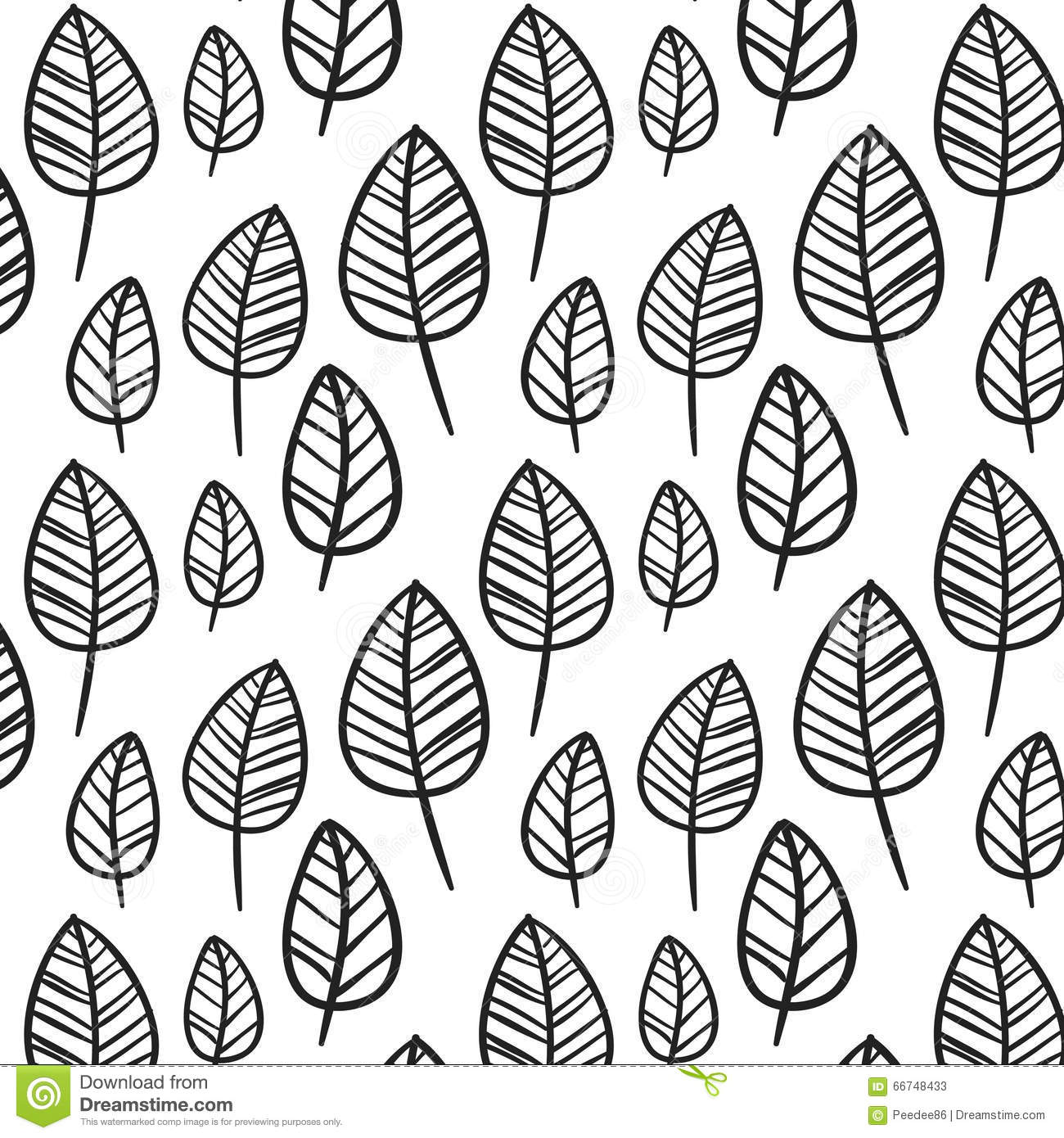 Black And White Leaves Stock Illustration Illustration Of