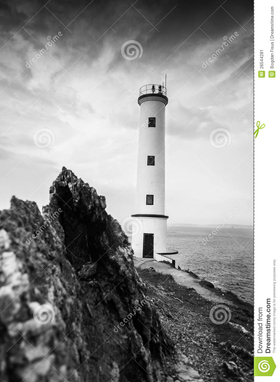 Black And White Lighthouse Stock Image - Image: 26544281