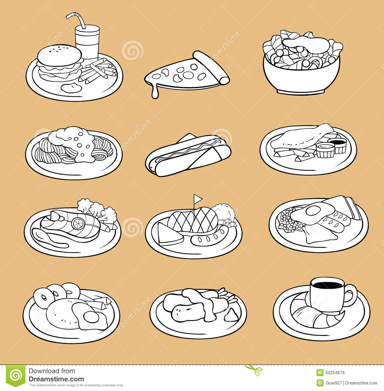 Line Drawing Food : Black and white line drawing of international food icon