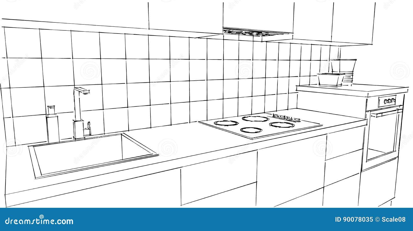 Kitchen Drawing Extravagant Home Design