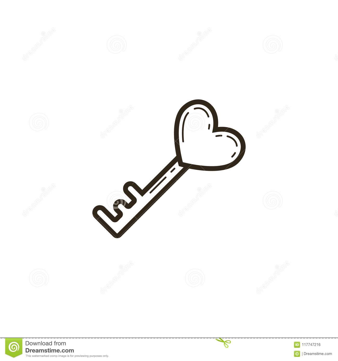 black and white linear icon of a heart shaped key stock vector