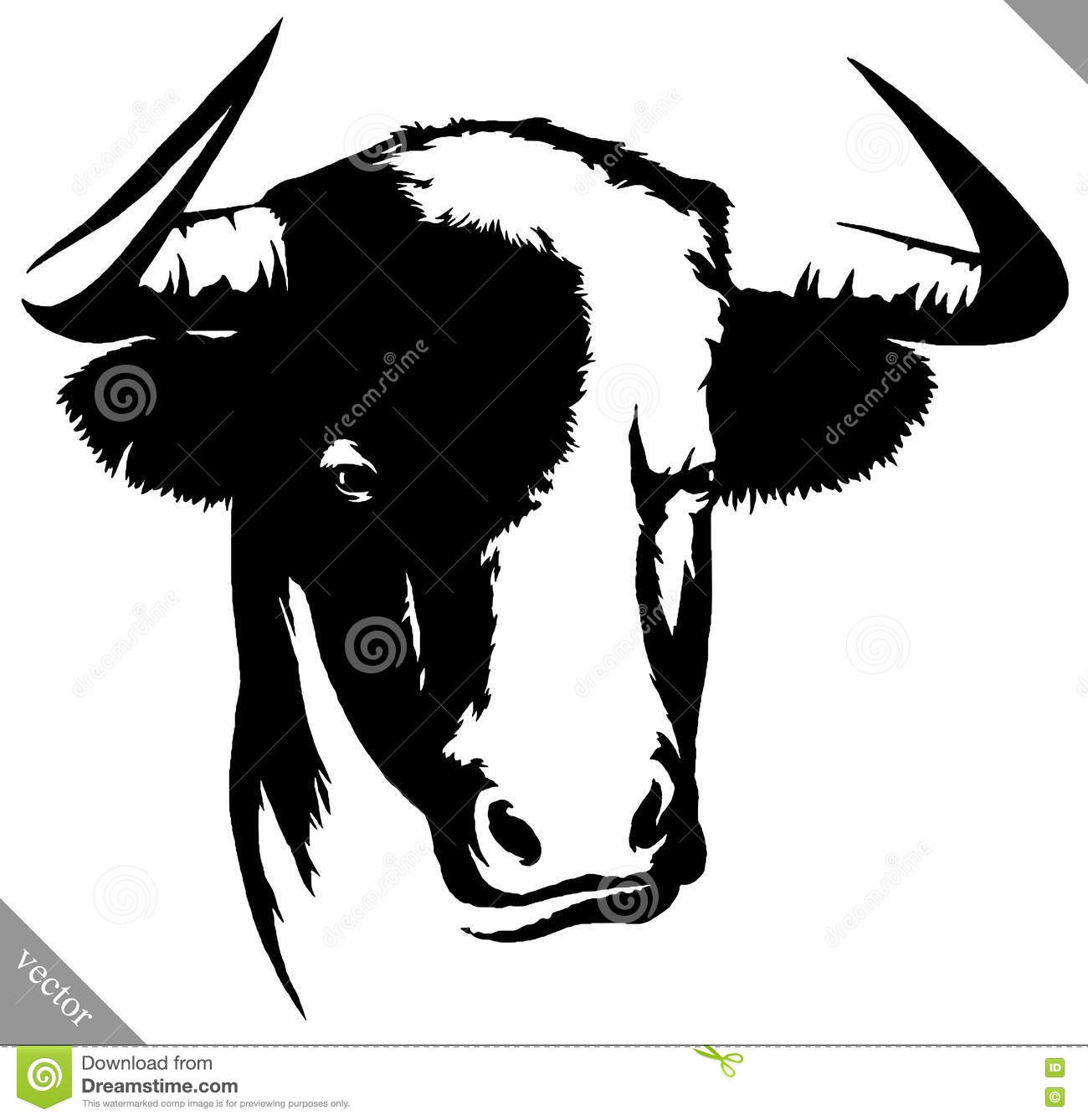 black and white linear paint draw bull vector illustration stock