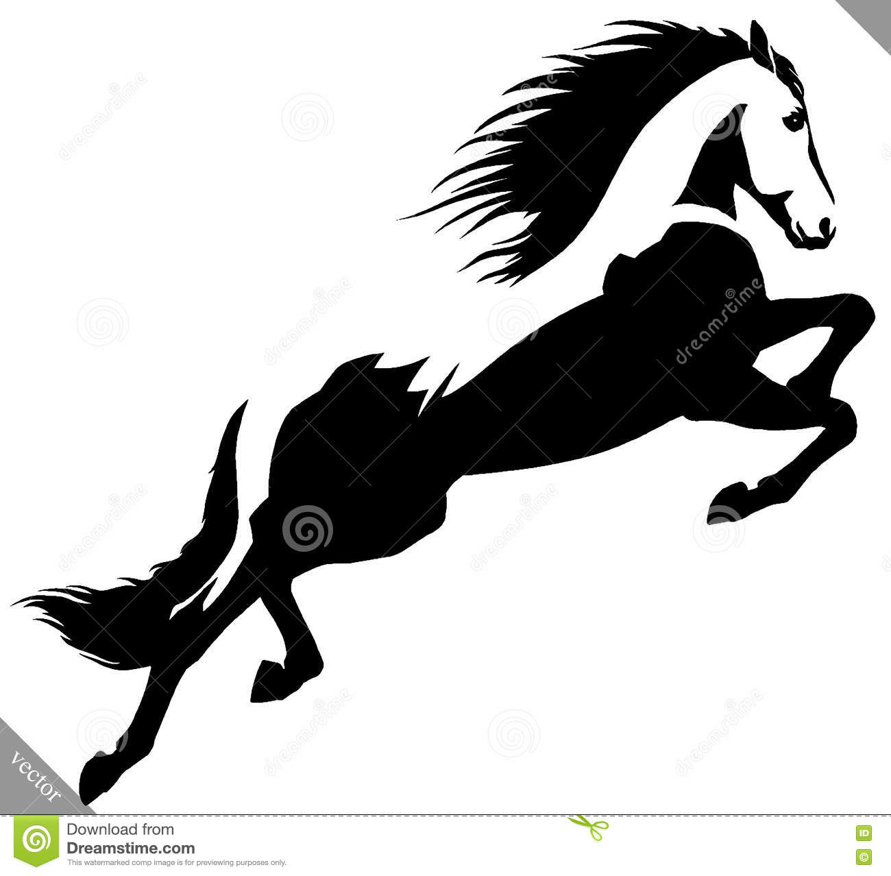 Black And White Linear Paint Draw Horse Vector Illustration Stock Vector Illustration Of Linear Outline 78889605