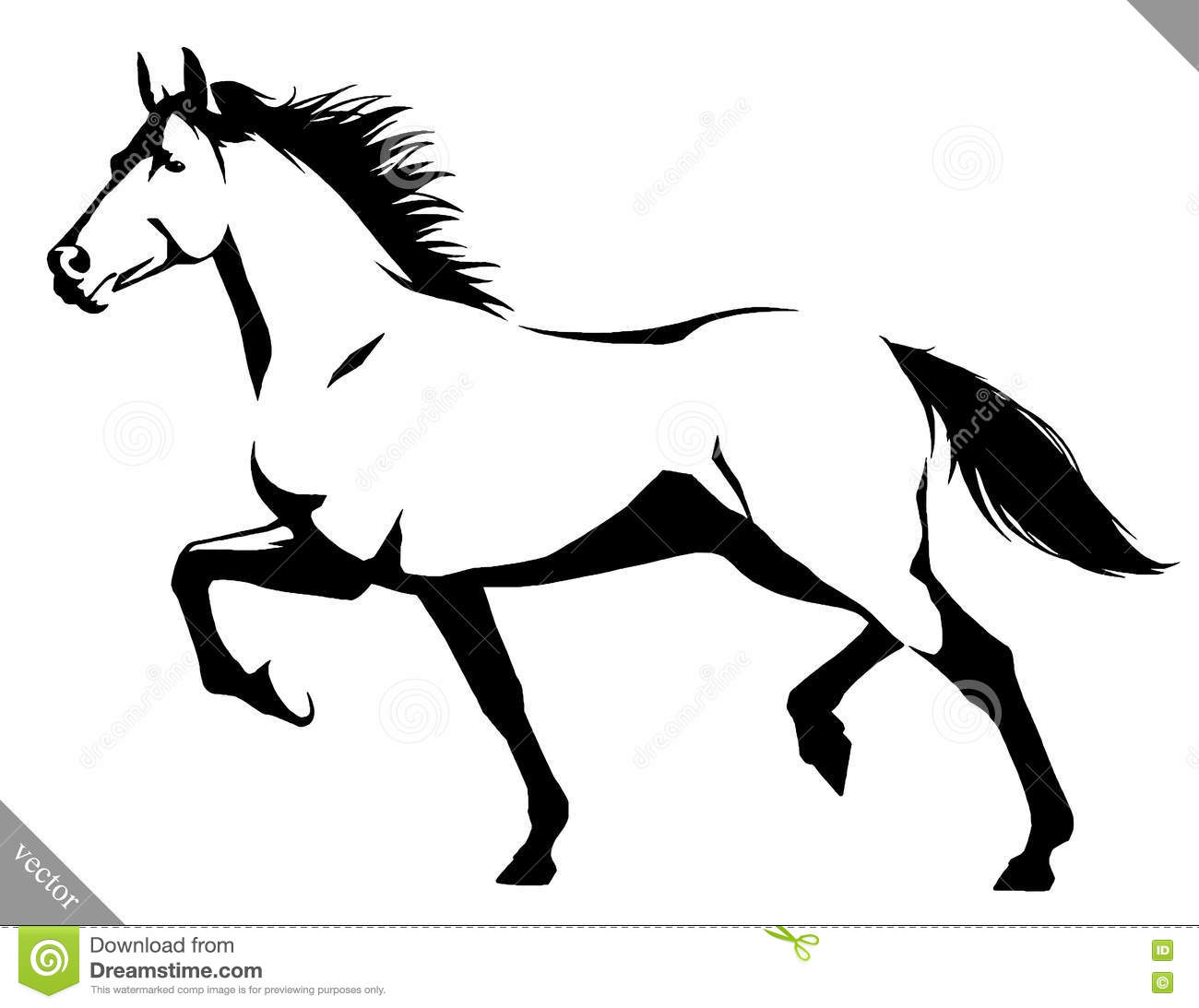 Black And White Linear Paint Draw Horse Vector Illustration Stock Vector Illustration Of Contour Racing 81666475