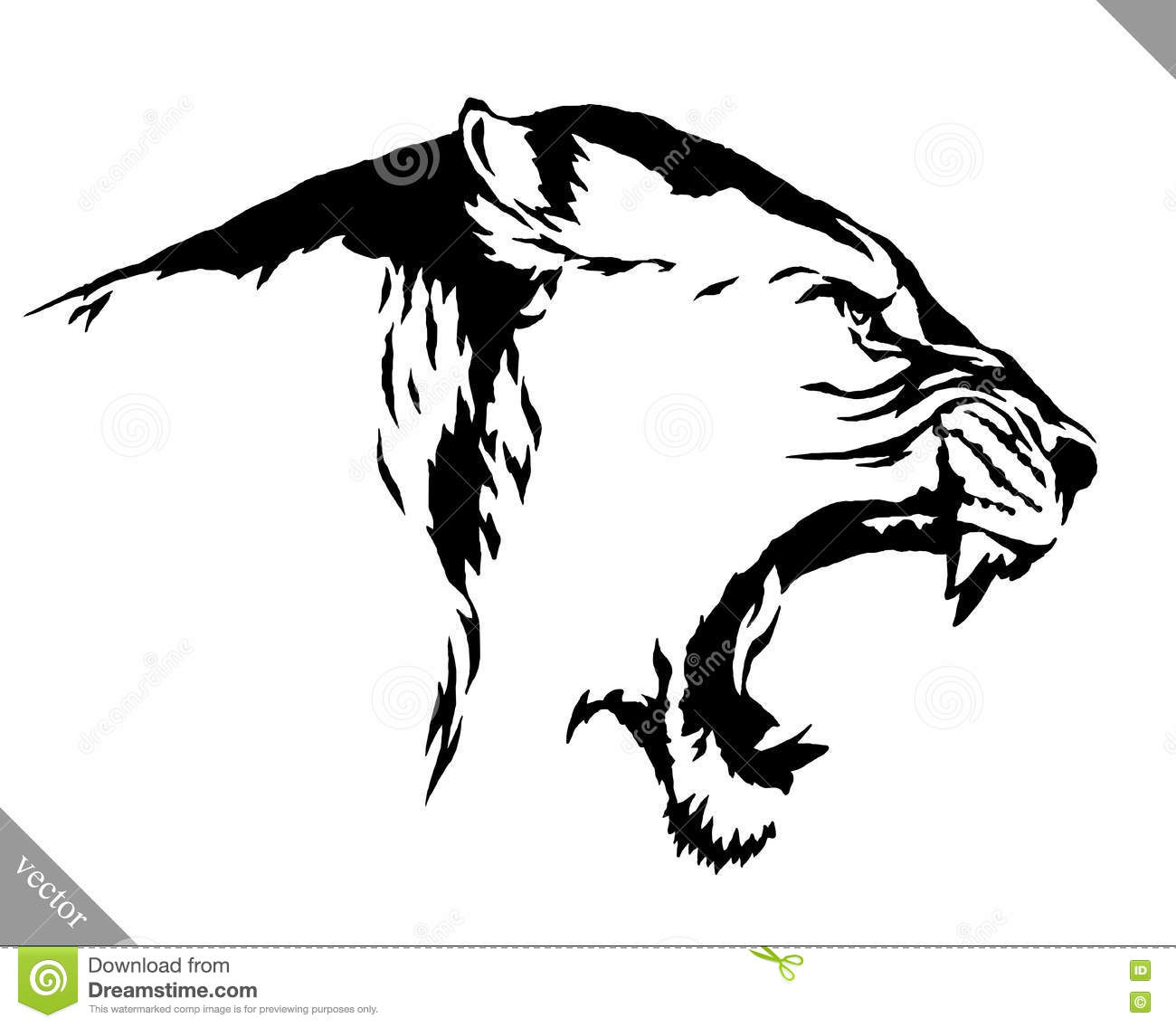 Black And White Linear Paint Draw Lion Vector Illustration Stock