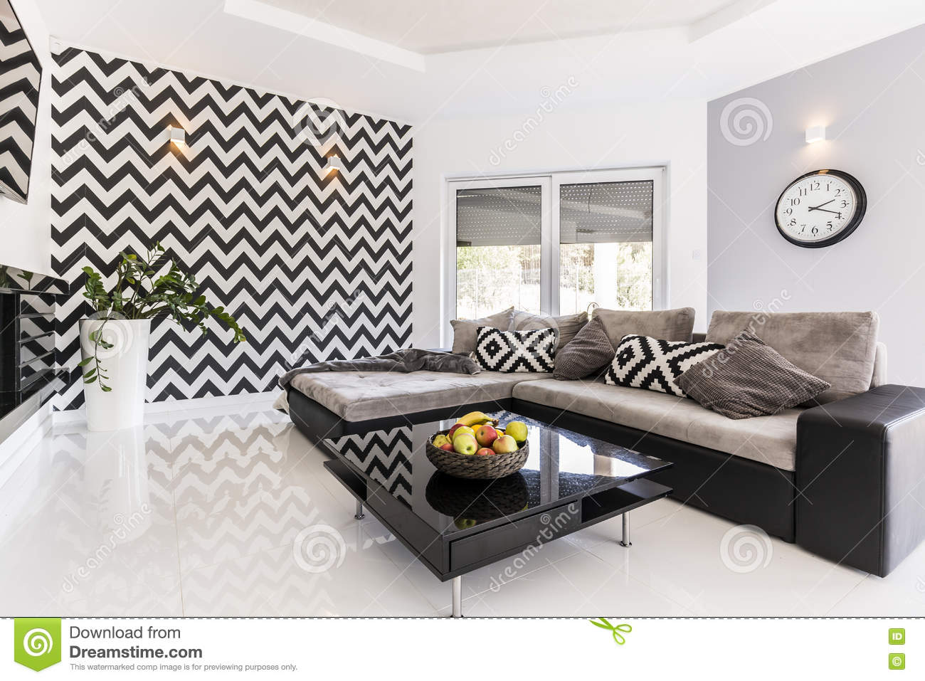 black white living room idea new style spacious large sofa small table pattern wallpaper 75149300