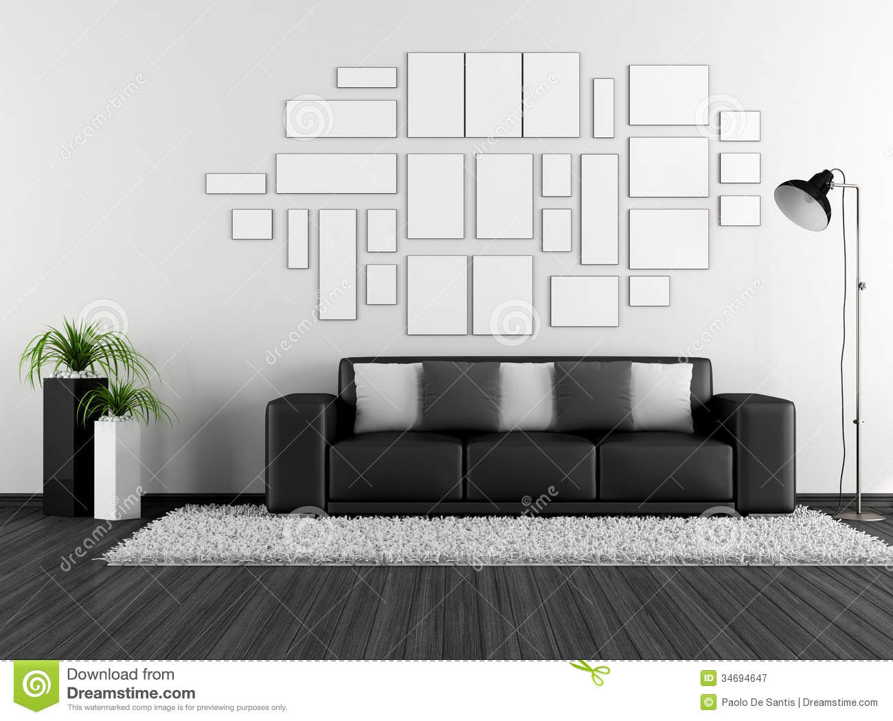black and white living room with modern couch and empty frame stock illustration illustration. Black Bedroom Furniture Sets. Home Design Ideas