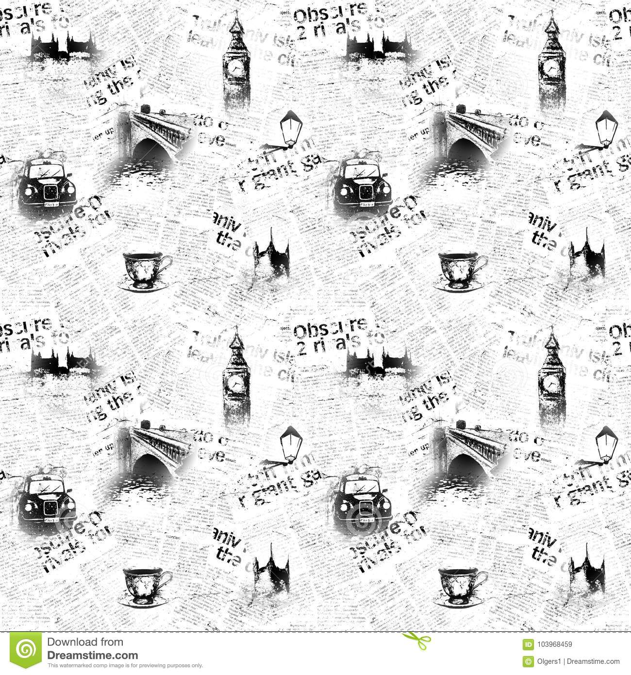 Download Black And White London Newspaper Background Stock Illustration